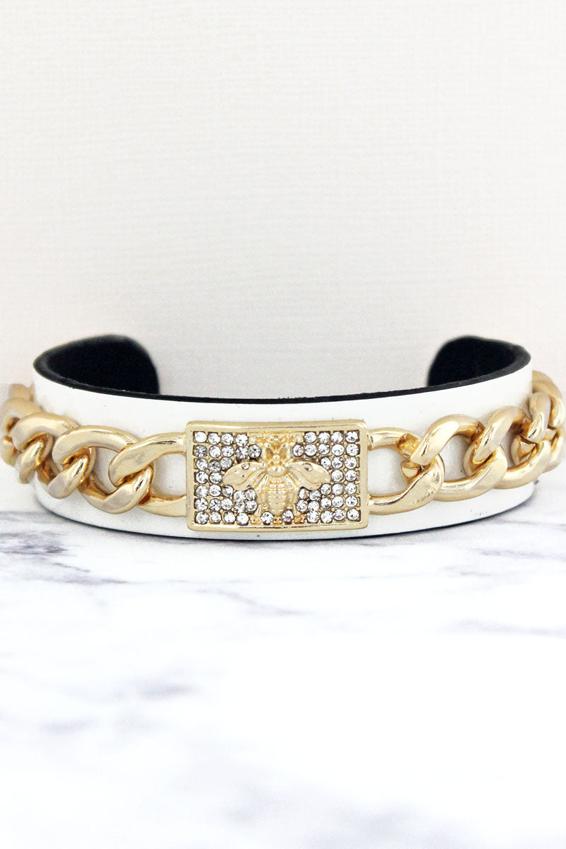 Bee Dazzling Goldtone Chain and White Cuff Bracelet