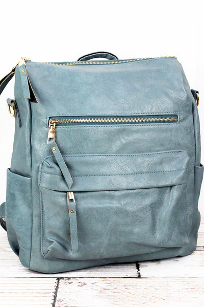 Seafoam Faux Leather Backpack Tote
