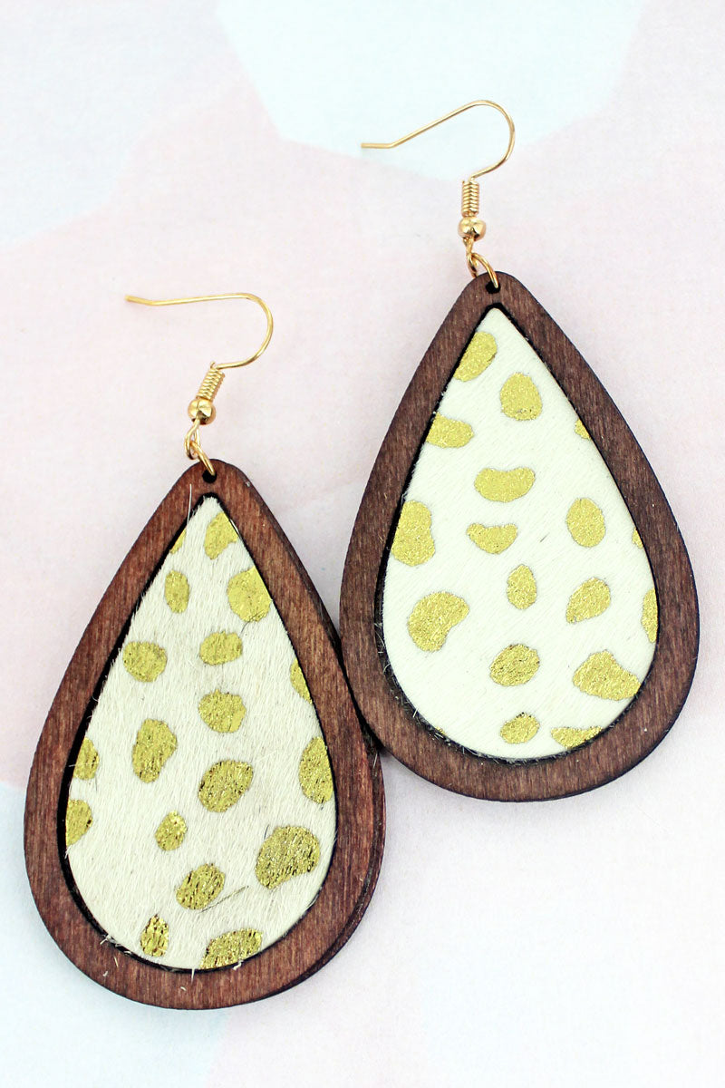 Wood Framed Gold Cheetah Teardrop Earrings