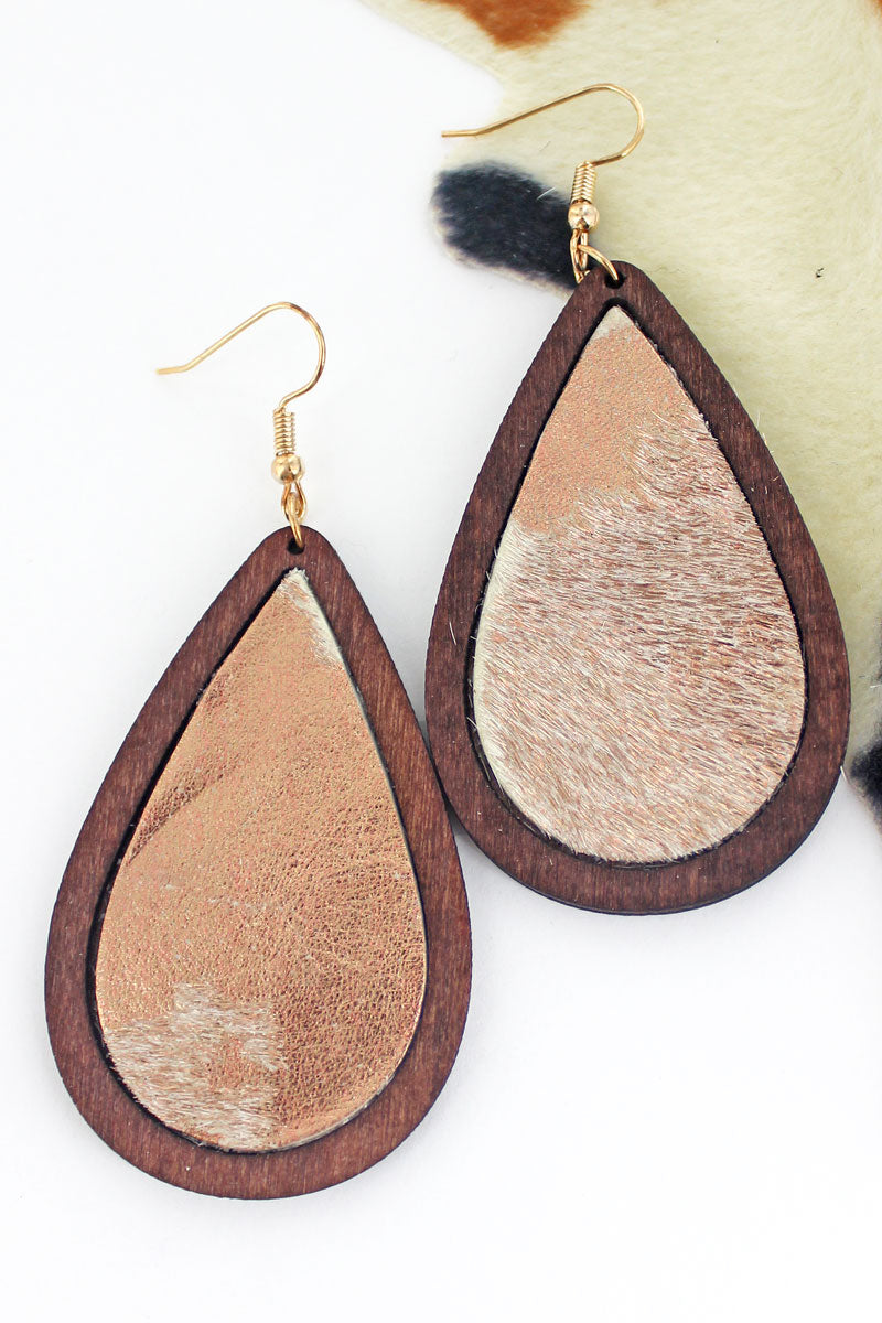 Wood Framed Rose Gold Cowhide Teardrop Earrings