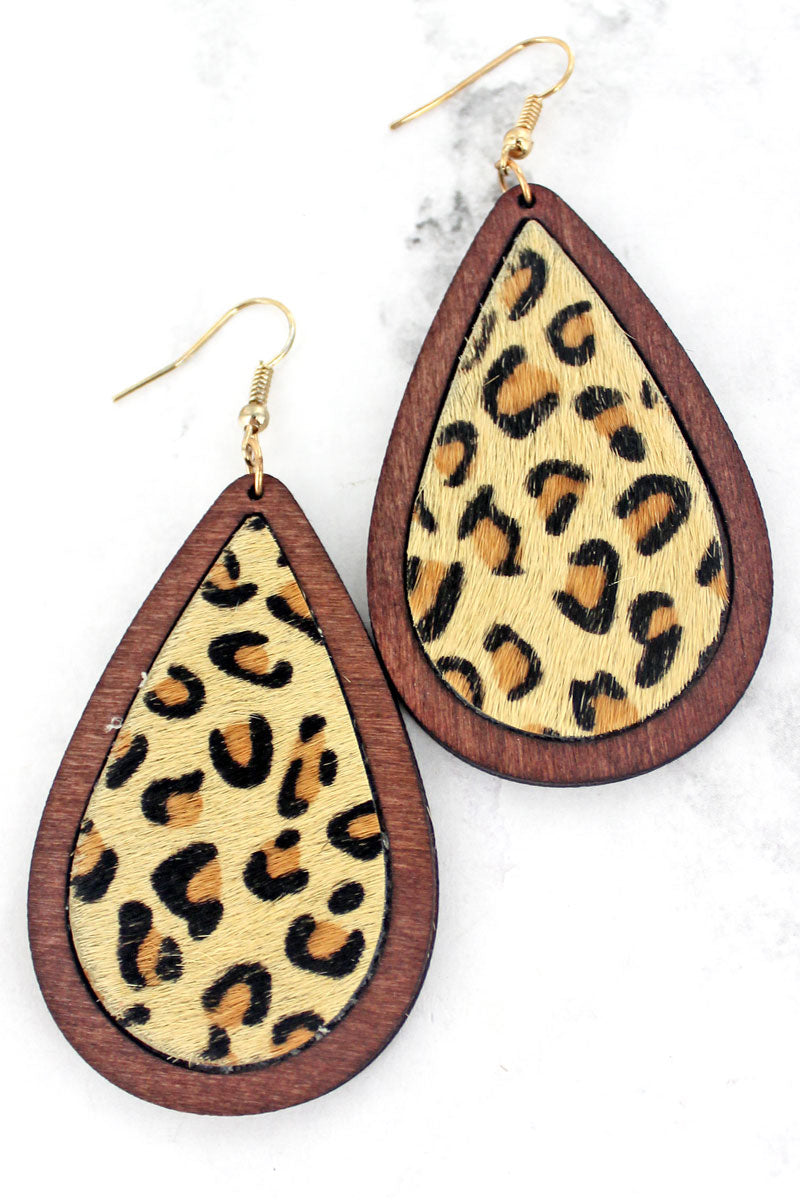 Wood Framed Tan Leopard Teardrop Earrings