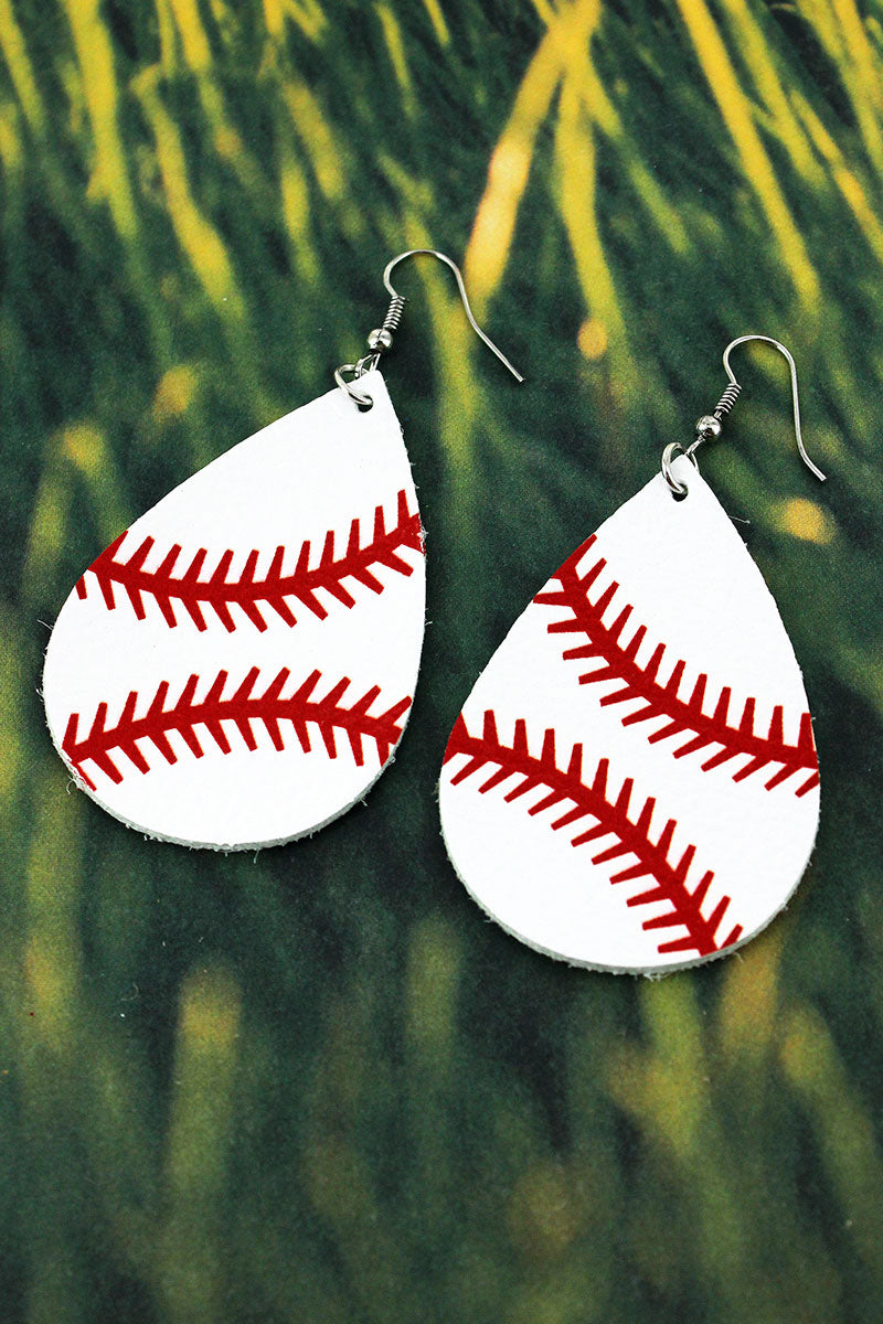 Baseball Faux Leather Teardrop Earrings