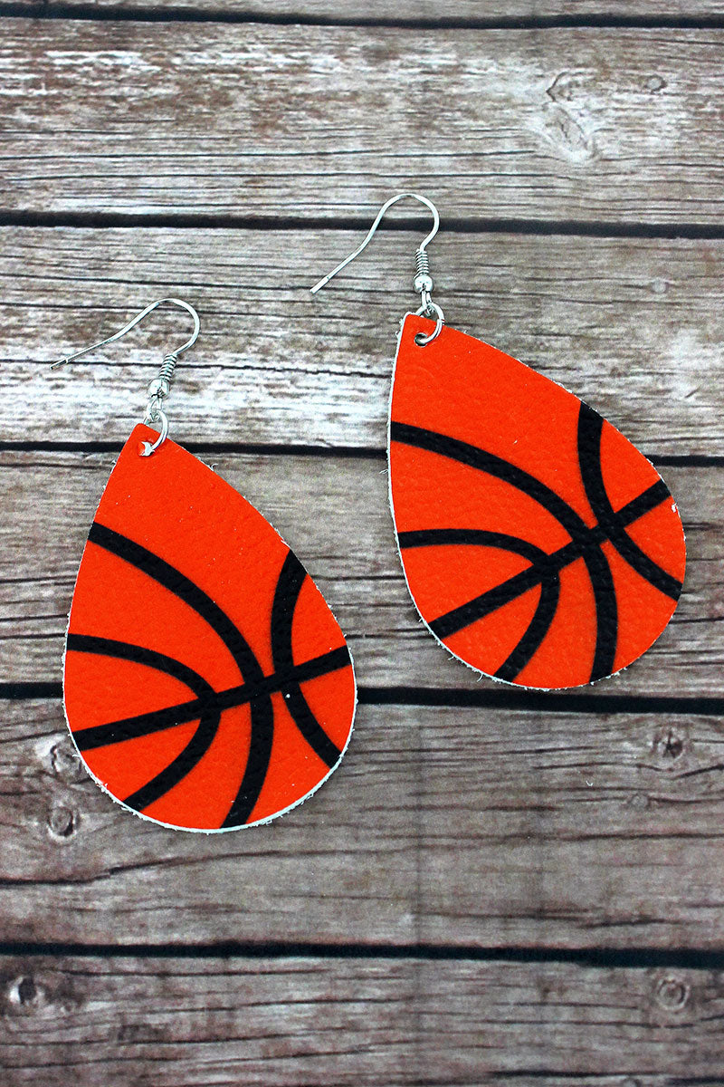 Basketball Faux Leather Teardrop Earrings