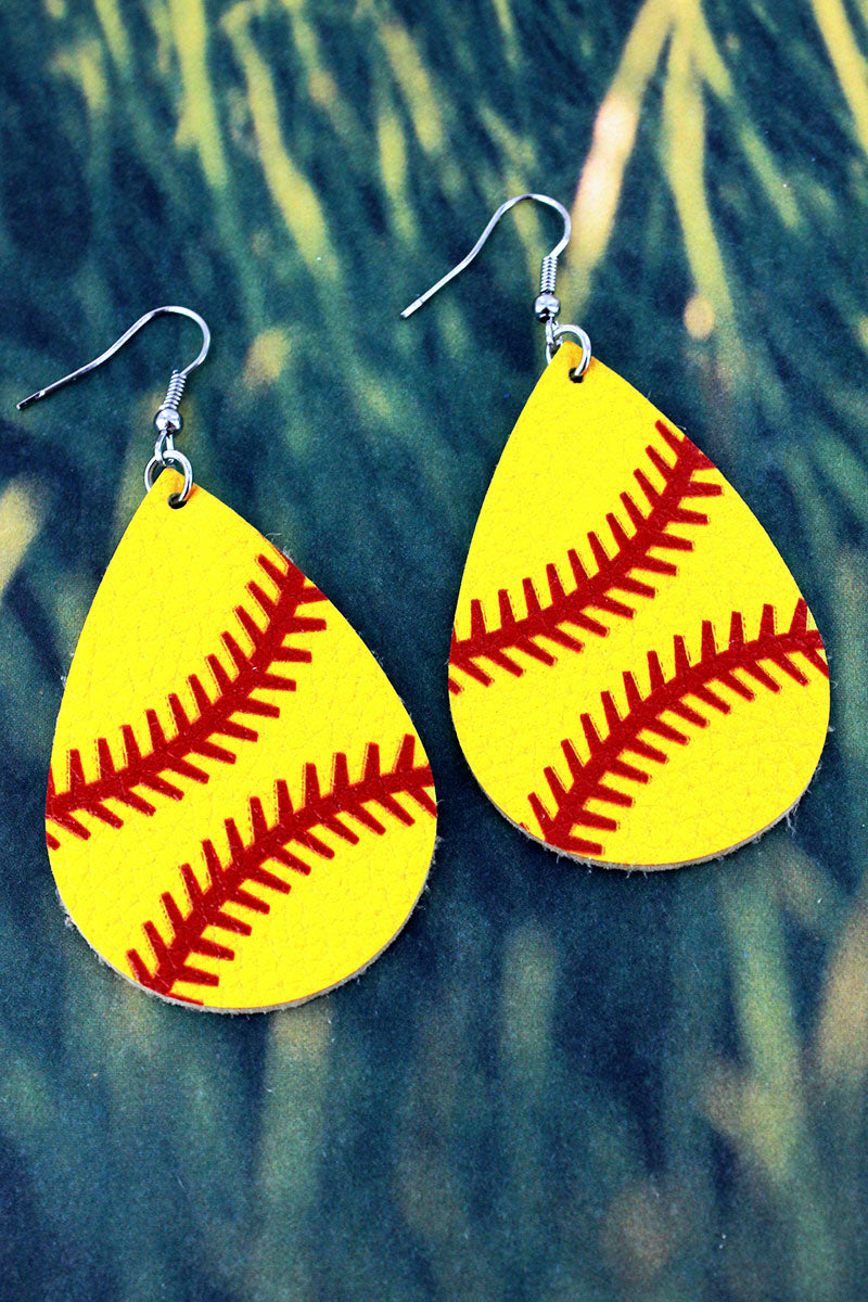 Softball Faux Leather Teardrop Earrings