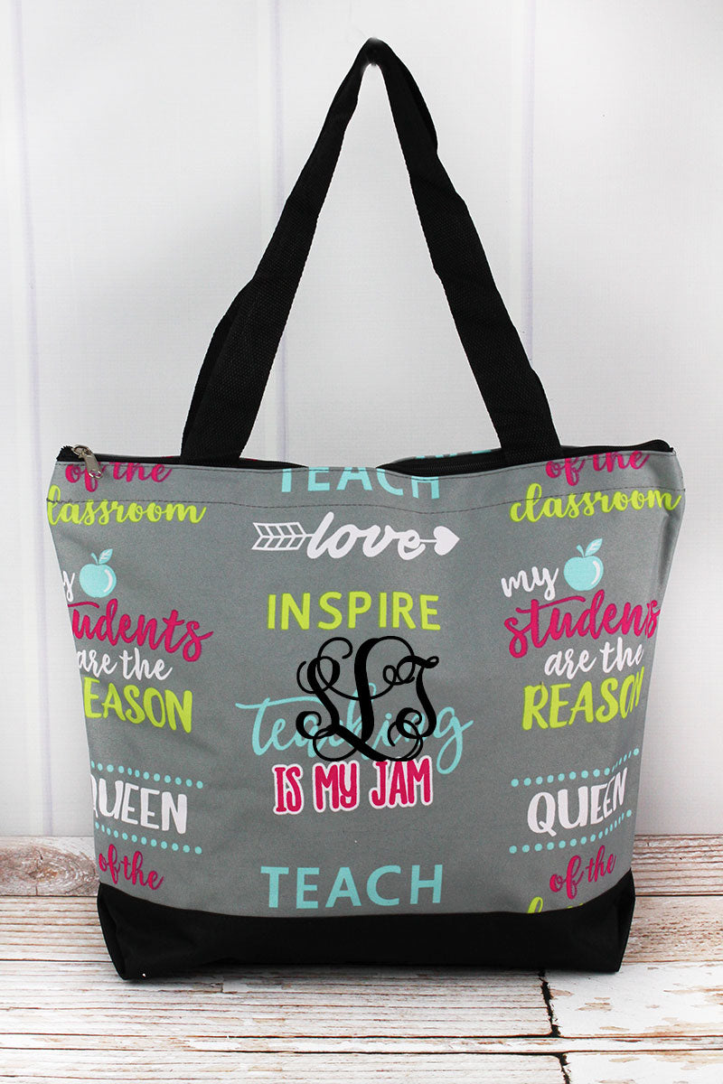 NGIL Teacher Life with Black Trim Tote Bag
