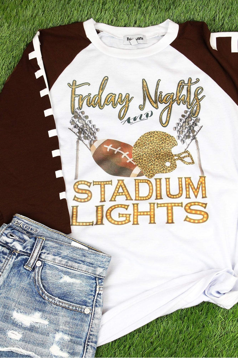 Friday Night Stadium Lights 3/4 Printed Sleeve Raglan Tee