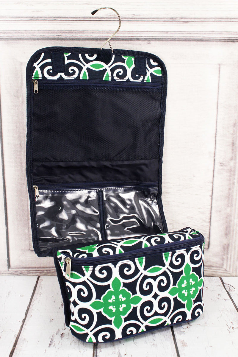Navy and Green Celtic Swirl Roll Up Cosmetic Bag #THQ729-NAVY