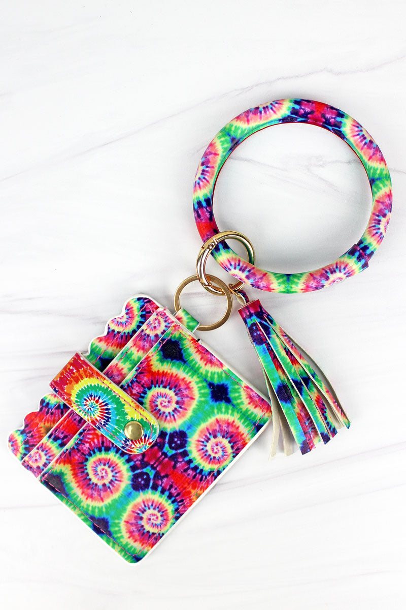 Flower Power Bangle Keychain with ID Card Holder