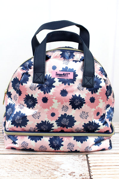 Pink and Blue Flowers TempaMate Insulated Lunch Tote