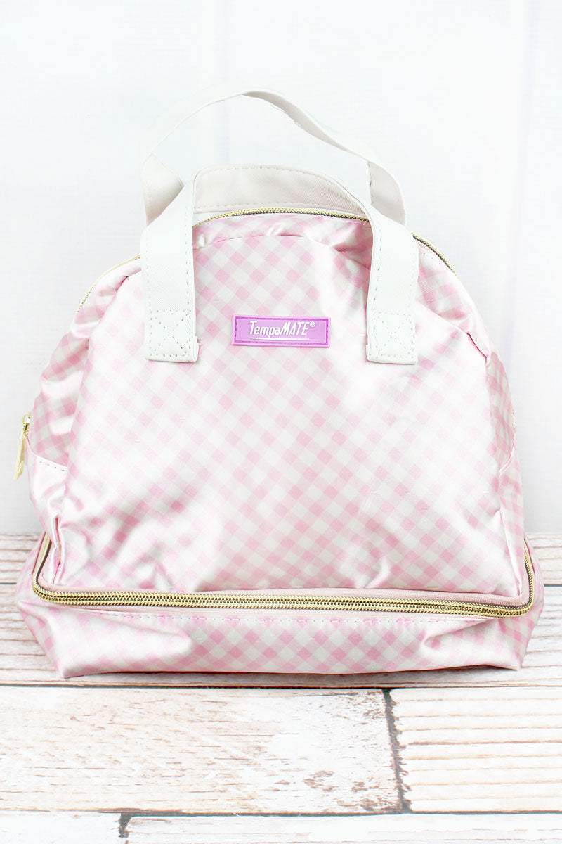 Pink Gingham TempaMate Insulated Lunch Tote