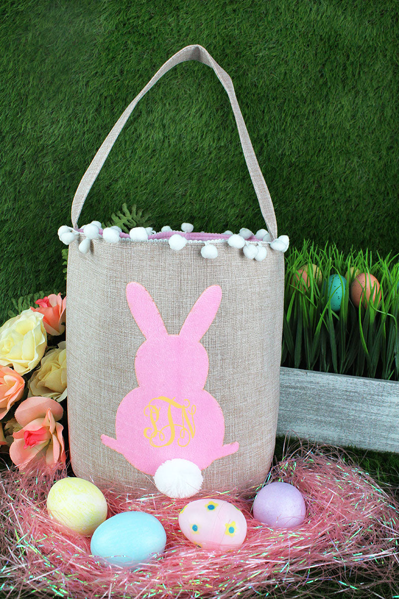 Pink Bunny Pom Pom Easter Bucket Bag