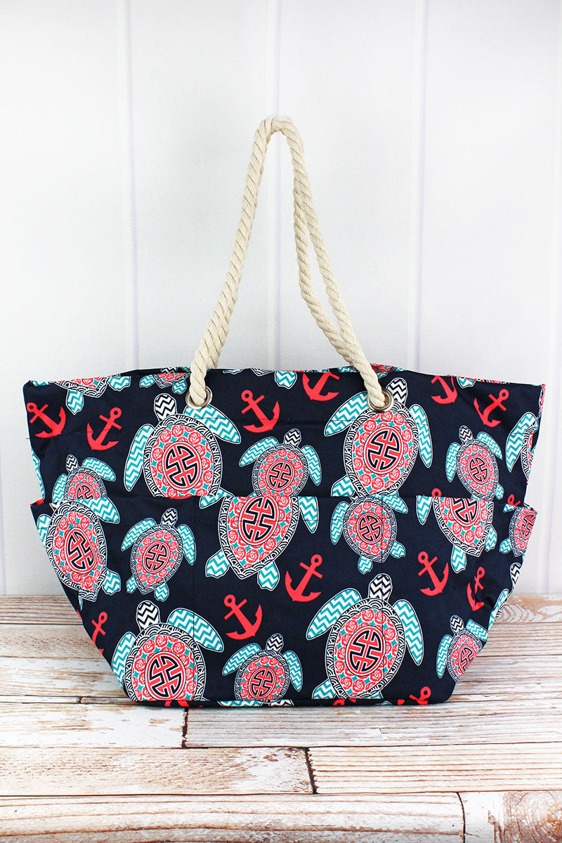 NGIL Preppy Under The Sea Rope Handle Beach Tote