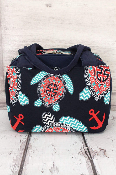 NGIL Preppy Under the Sea Insulated Bowler Style Lunch Bag with Navy Trim