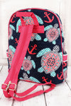 Preppy Under the Sea Quilted Backpack with Hot Pink Trim #TUL2828-HPINK