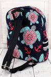 Preppy Under the Sea Quilted Backpack with Navy Trim #TUL2828-NAVY