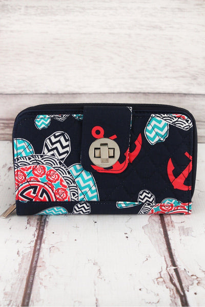 Preppy Under the Sea with Navy Trim Quilted Organizer Clutch Wallet #TUL517-NAVY