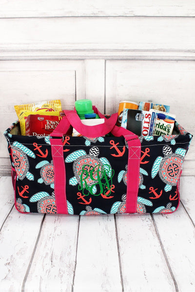 Preppy Under the Sea with Hot Pink Trim Collapsible Haul-It-All Basket with Mesh Pockets #TUL603-HPINK