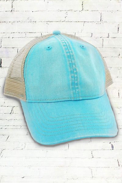 Lagoon Blue and Ivory Comfort Colors Unstructured Trucker Cap