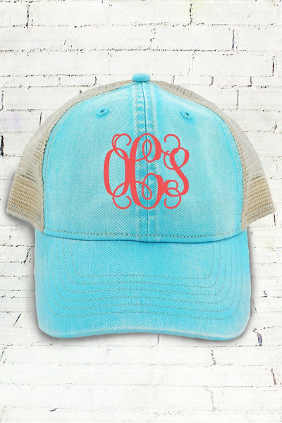 Lagoon Blue and Ivory Comfort Colors Unstructured Trucker Cap #CC0105 (PLEASE ALLOW 3-5 BUSINESS DAYS. EXPEDITED SHIPPING N/A)
