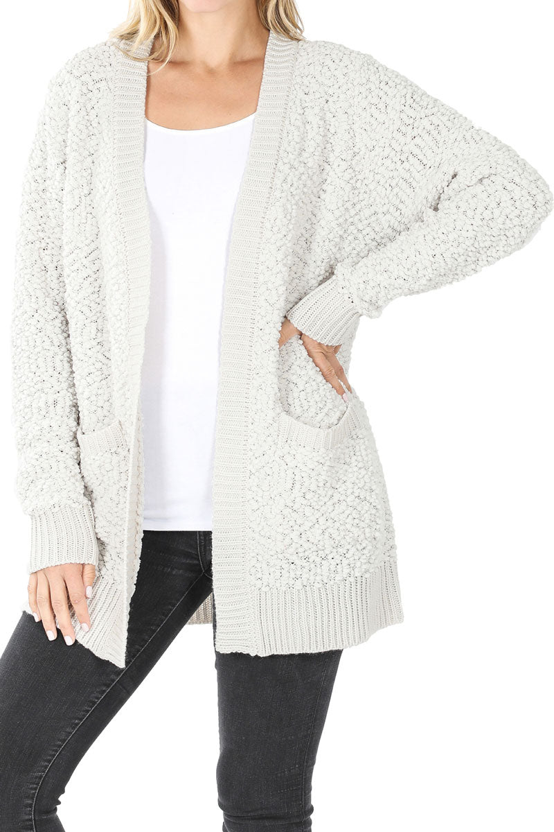 Bone Popcorn Pocket Cardigan