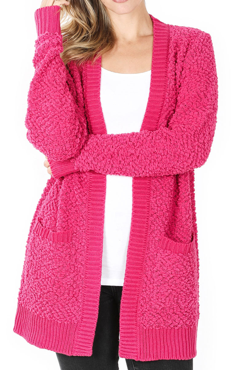 Hot Pink Popcorn Pocket Cardigan