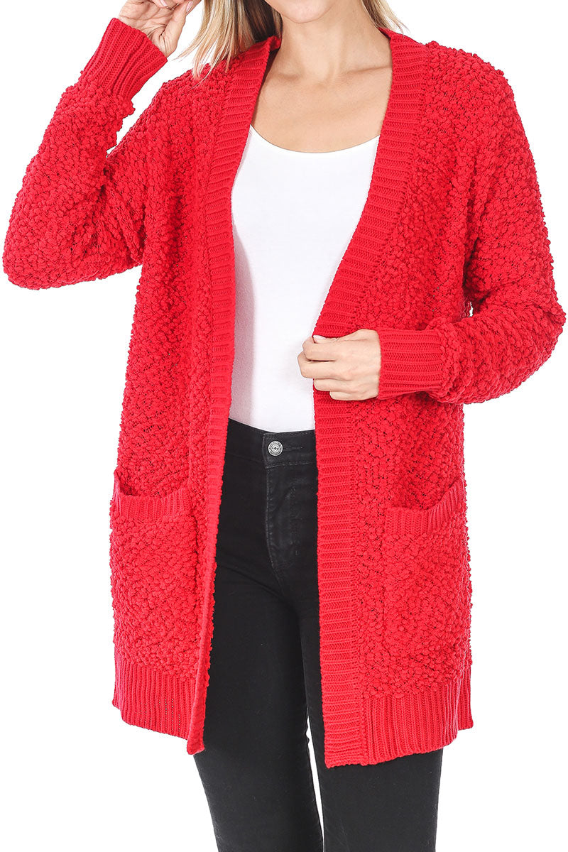Ruby Popcorn Pocket Cardigan