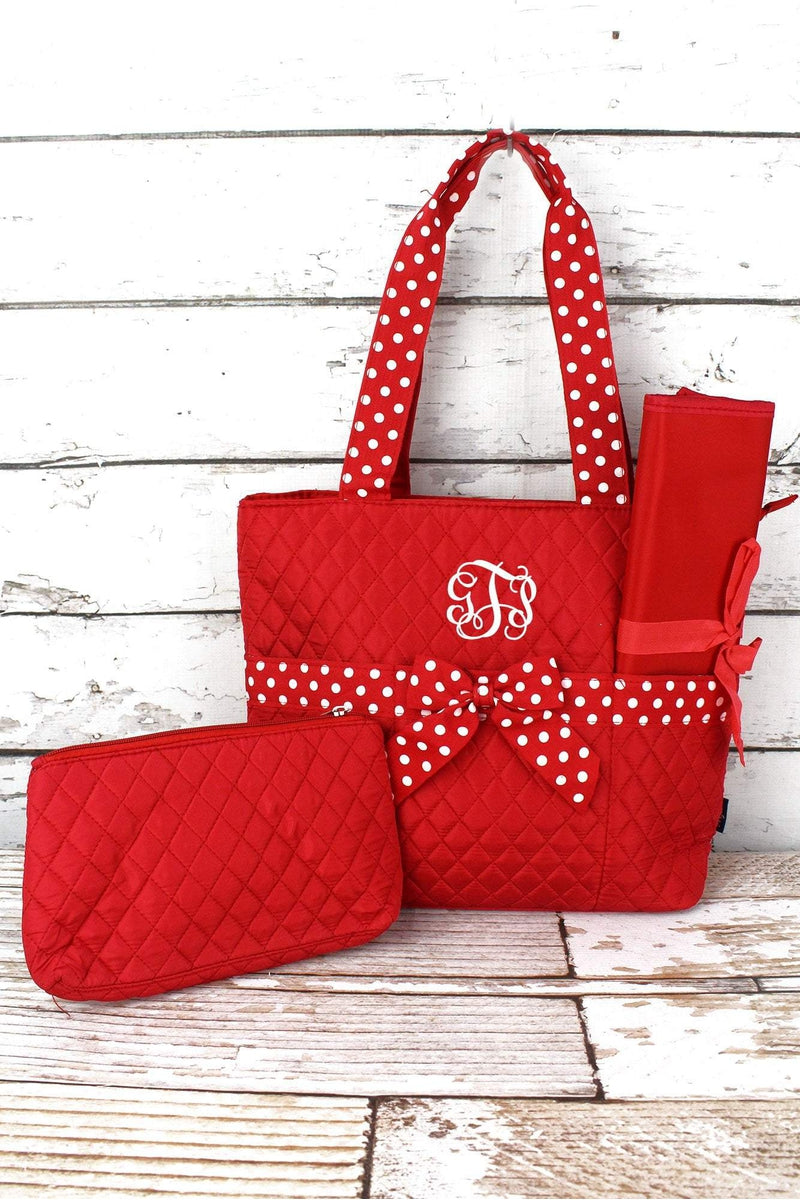 NGIL Red and White Quilted Diaper Bag