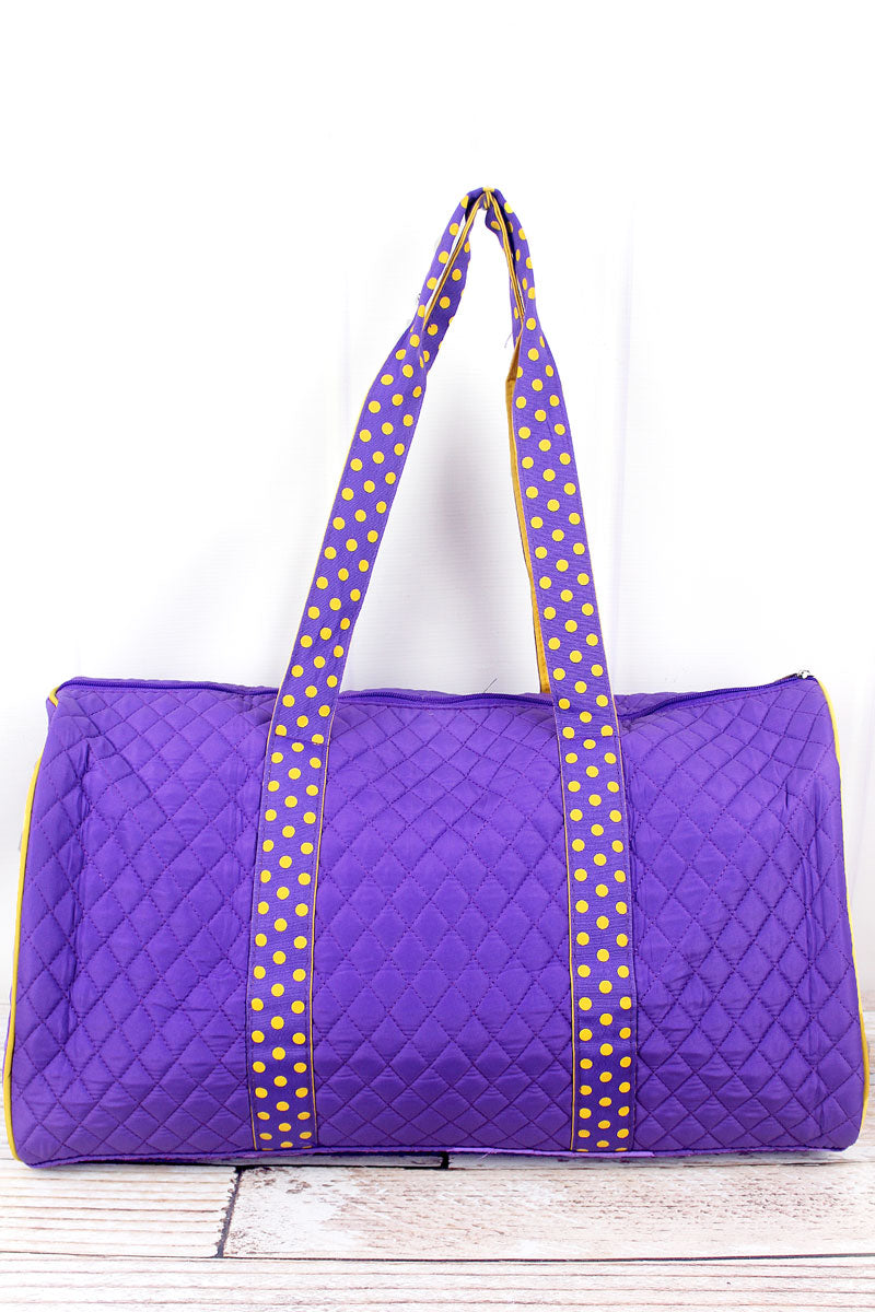 SALE! NGIL Purple and Yellow Quilted Duffle Bag 21""