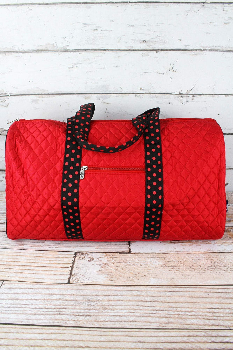 NGIL Red and Black Quilted Duffle Bag 21""