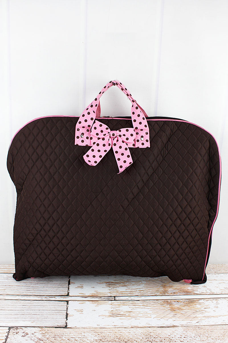 NGIL Brown and Pink Quilted Garment Bag