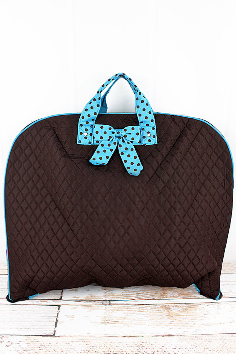 NGIL Brown and Turquoise Quilted Garment Bag