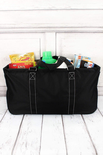 Black Collapsible Haul-It-All Basket with Mesh Pockets #TW603-BLACK