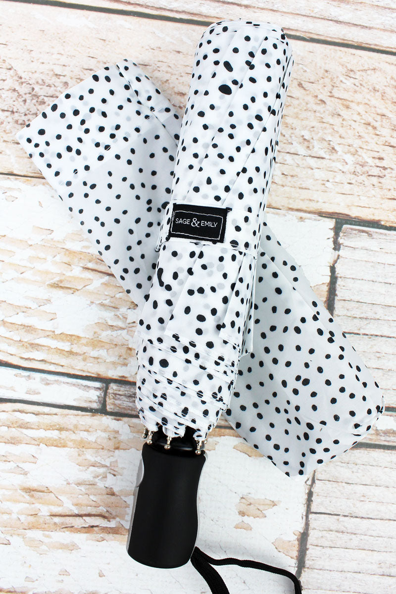 White with Black Polka Dots Umbrella 42""