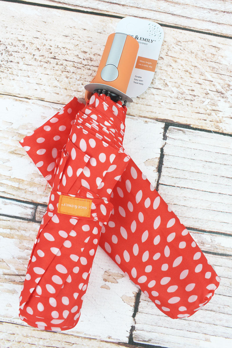 Orange Dotted Umbrella 42""