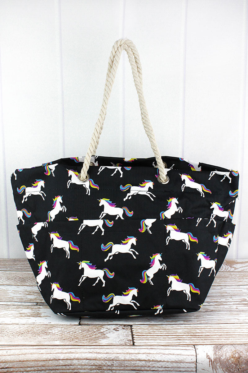 NGIL Enchanted Unicorn Rope Handle Beach Tote
