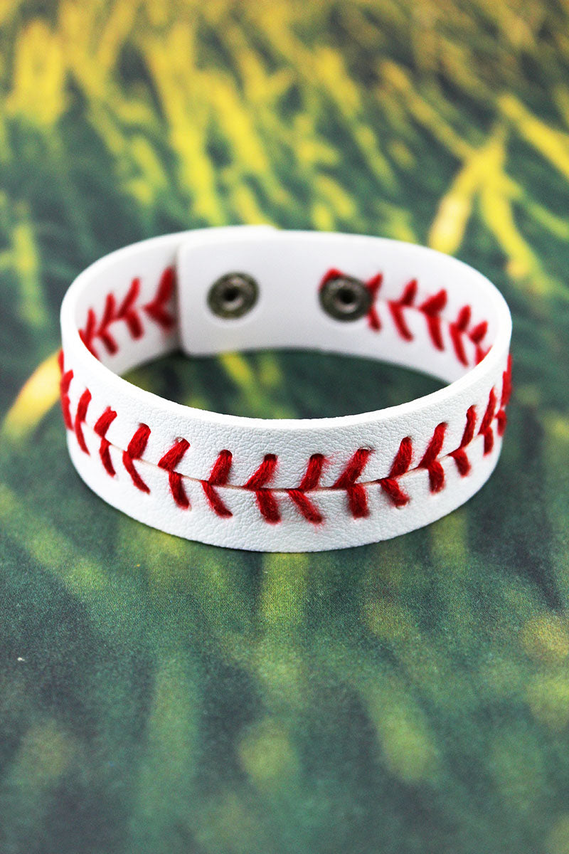 Baseball Faux Leather Cuff Bracelet