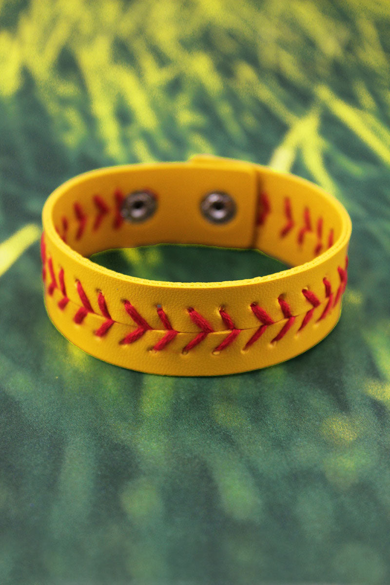 Softball Faux Leather Cuff Bracelet