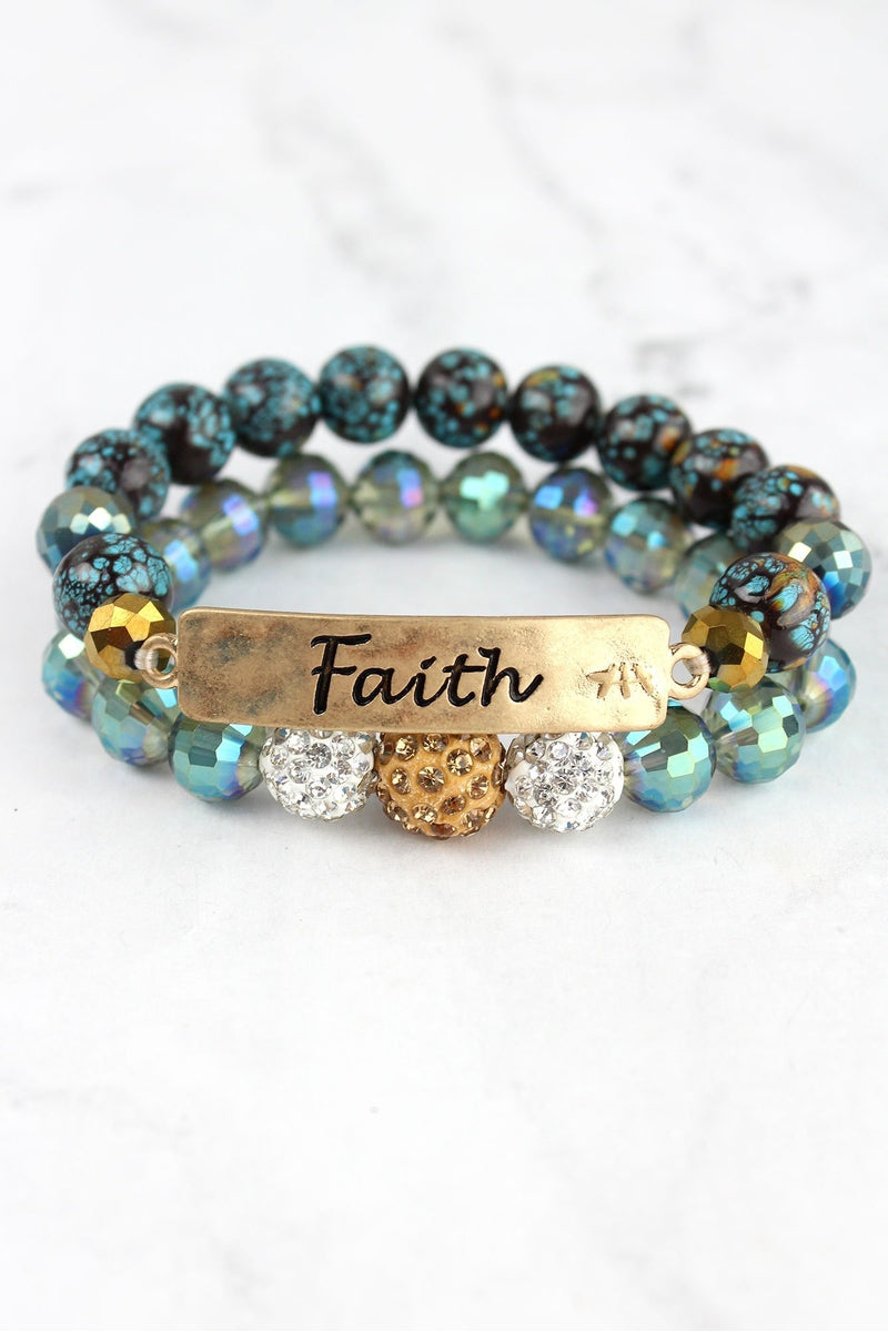 Goldtone 'Faith' Crystal Pave and Turquoise Beaded Bracelet Set