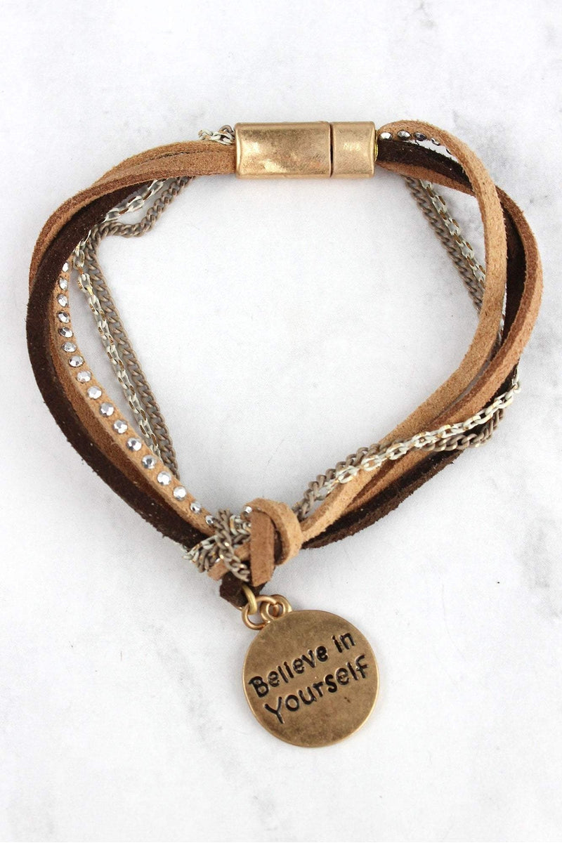 Brown and Goldtone 'Believe In Yourself' Knotted Cord Magnetic Bracelet
