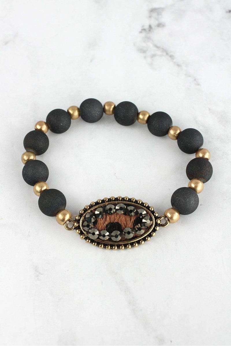Black Crystal Accented Cheetah Oval Disk Beaded Bracelet