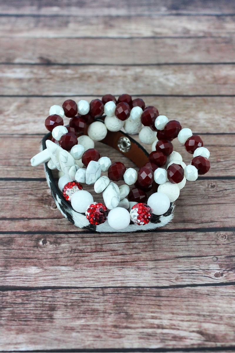 Crimson and White Leopard and Mixed Bead Alabama Bracelet Set