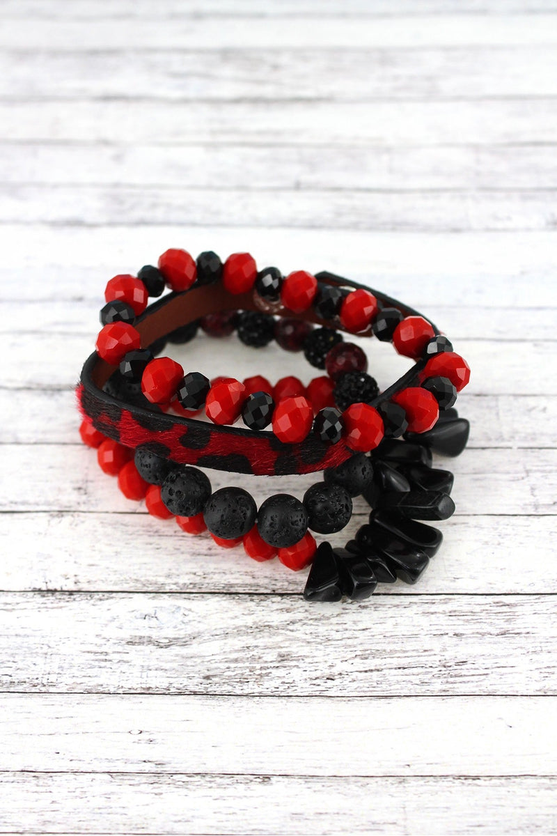Red and Black Leopard and Mixed Bead Georgia Bracelet Set