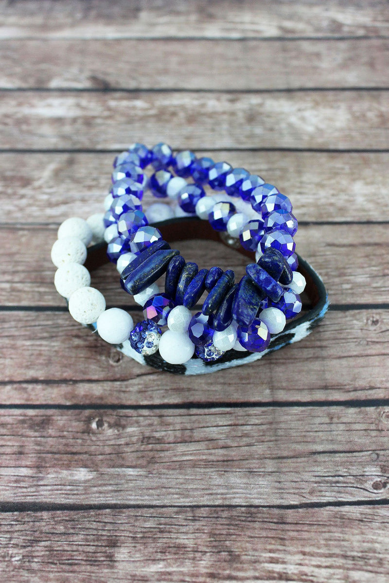 Blue and White Leopard and Mixed Bead Kentucky Bracelet Set