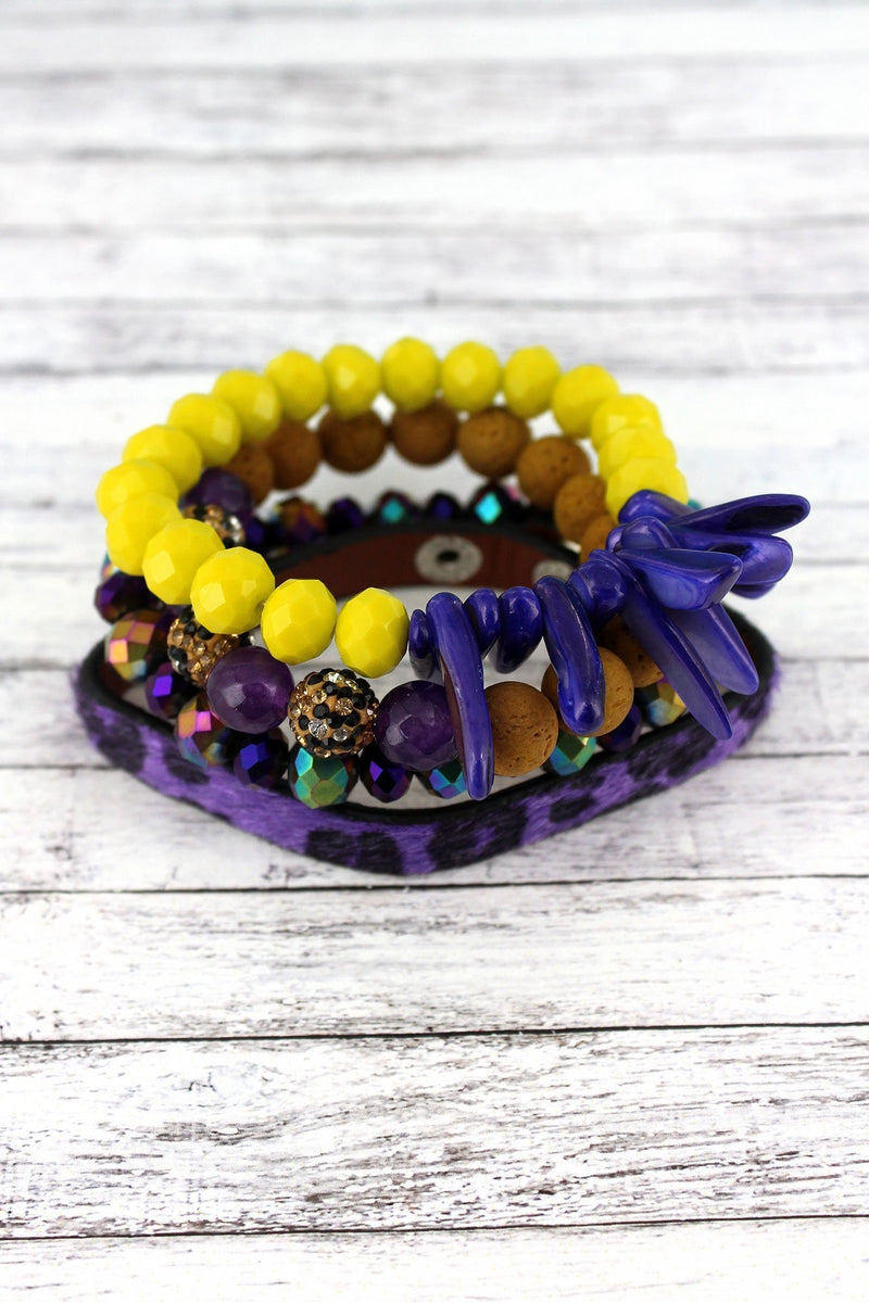 Purple and Yellow Leopard and Mixed Bead Louisiana Bracelet Set