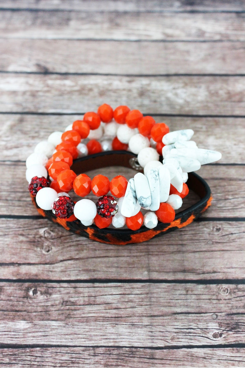 Orange and White Leopard and Mixed Bead Tennessee Bracelet Set