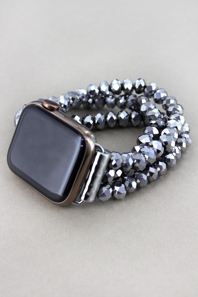 Silver Faceted Bead Apple Watch Bracelet Band