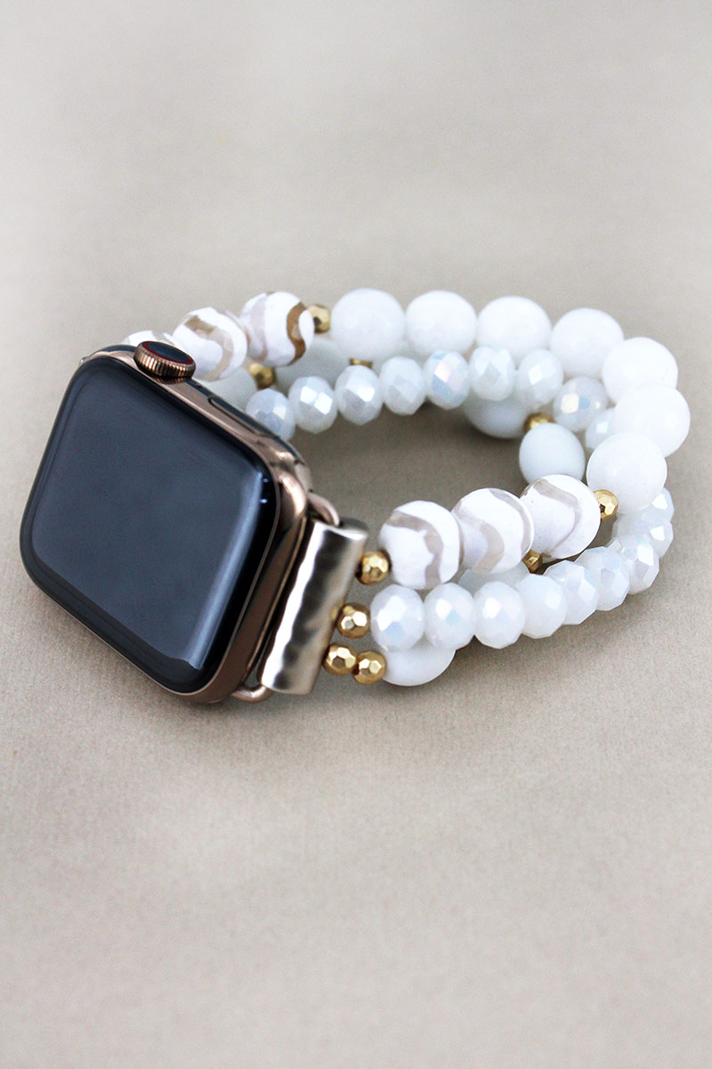 White Striped Faceted Bead Apple Watch Bracelet Band