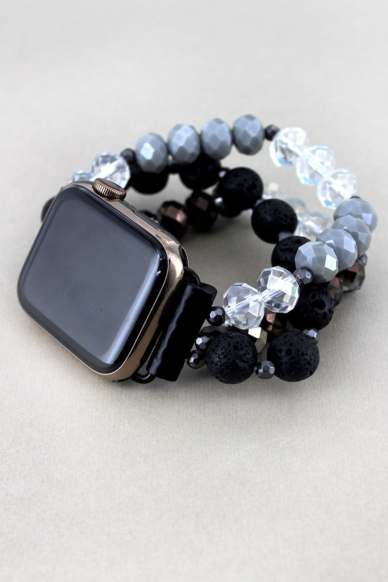 Monochrome Lava and Faceted Bead Apple Watch Bracelet Band
