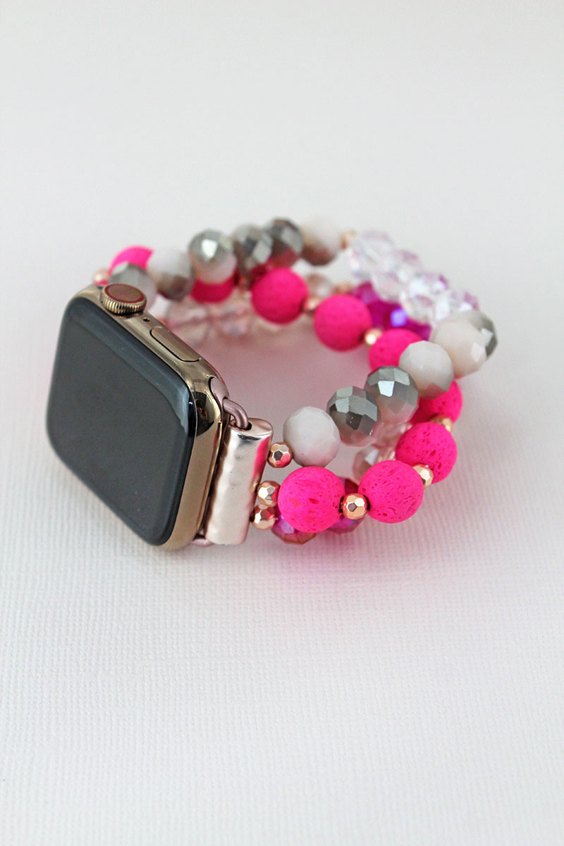 Pink Multi-Color Lava and Faceted Bead Bracelet Band for Apple Watch
