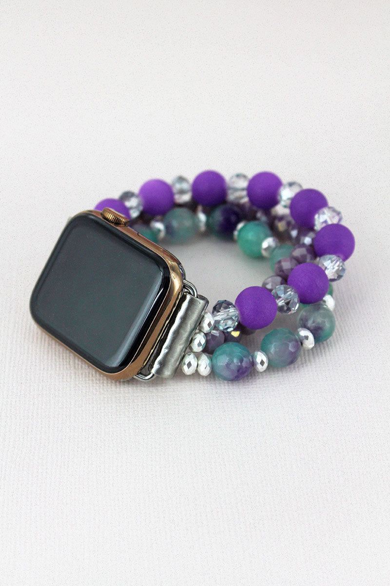 Purple and Green Faceted Bead Bracelet Band for Apple Watch